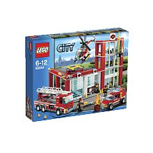 Lego City - La caserne des pompiers - 60004  - marque : Lego C'est une journée tranquille dans la caserne des pompiers LEGO City de 3 étages. Le chef des pompiers boit son café dans son bureau pendant qu'un pompier répare le camion et qu... prix : 81.99 €  chez Toys R us #Lego #ToysRus