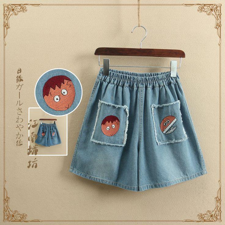1140 новый летний прибытия женщин джинсовые шорты мода корейский мори девушка с коротким джинсы мультфильм мальчики вышитые карман эластичный пояскупить в магазине SZ Bebobson commerce Ltd.наAliExpress