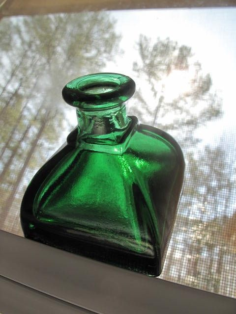 Green glass ink well. $15