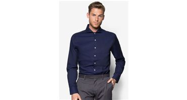Long-Sleeved Shirt Slim-Fit Tailored Mao Collar with 35% Discount at Zalora