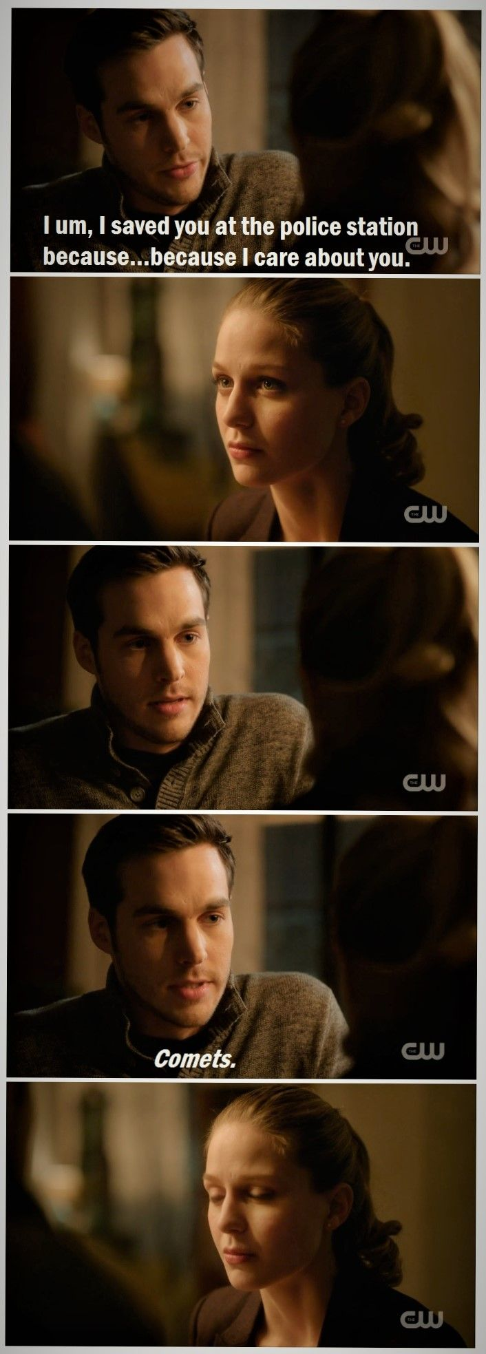 """Kara and Mon-El are adorable. My rational side hates me for getting giddy over cheesy eyes-as-comets comparisons, but...the thing is, Mon-El KNOWS it sounds cheesy, which is why he's so sheepish. And that makes it cool in my book. Plus, you know--his hit-by-a-truck look when Kara stares at him and tries to process everything is pretty darn cute. 