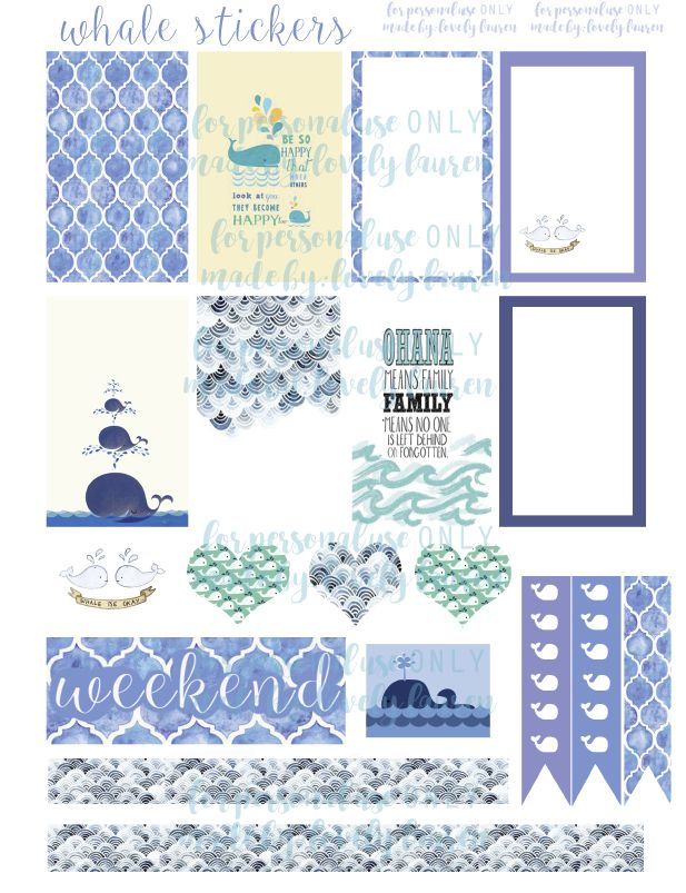 Whale Planner Stickers