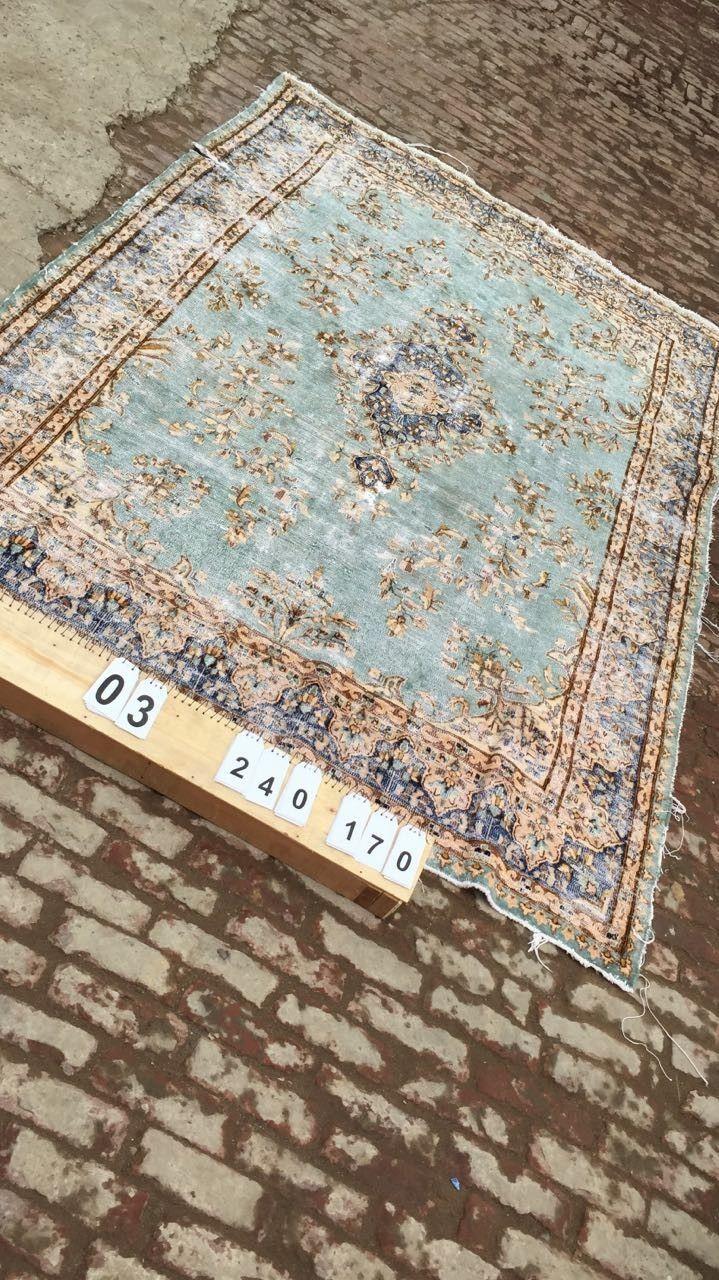 Vintage vloerkleed, lichtblauw 240cm x 170cm | Rozenkelim.nl - Groot assortiment kelim tapijten