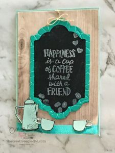 Love this Coffee Cafe chalkboard effect. To find our more ways to use whisper white craft ink visit www.TheCreativeEclectic.com #wayswithwhisperwhiteink #stampinup #inspirecreateshare #coffeelove #fauxchalkboard #chalkboardtechnique #thecreativeeclectic