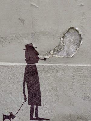Man walking dog and smoking pipe. Nice way to use #art on a wall that has a hole. ~Me Art by #StreetArtist Sandrine Estrade Boulet.  #StreetArt