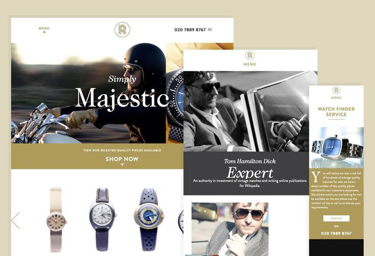 Responsive website design and development, with content management, for Retromega Watches.