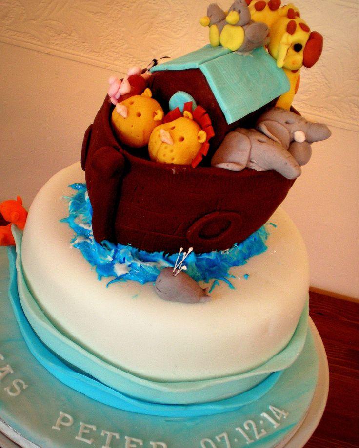Noah's Ark Christening Cake www.kitchenfairiesleeds.co.uk
