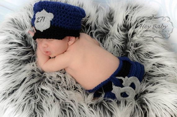 Crochet Newborn Police Outfit Photo Prop by KestersKreations