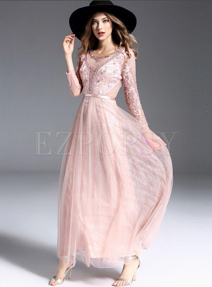 Long Hollow Mesh Bead High Waist Dress