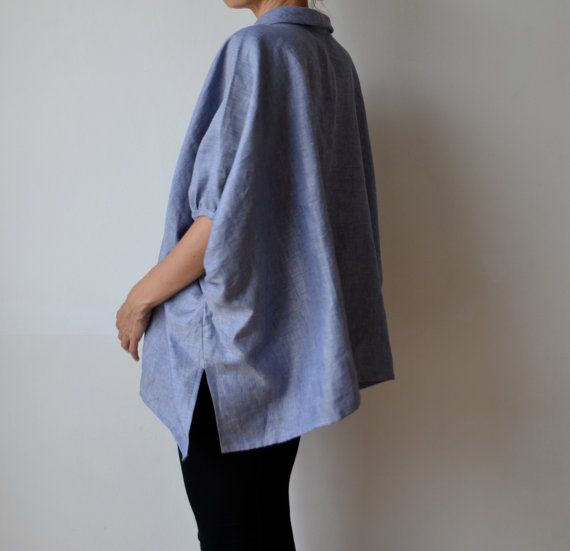 Chambray linen smock top blouse. Plus size and by MuguetMilan