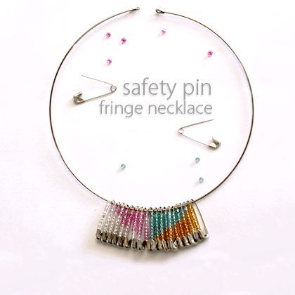 Beaded Safety Pin Fringe Necklace | Spoonful