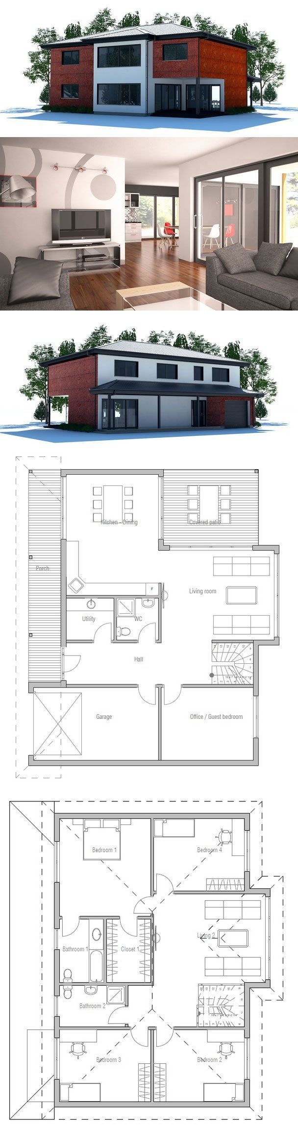 Large Modern House Plan CH180 with four bedrooms. Family room on the second floor. Nice big covered terrace.