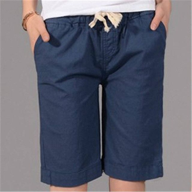 S-4XL 2017 Summer New Fashion Loose Cotton Linen Elastic Waist Women Bermuda Half Long Basic Shorts Plus Size Candy Colors
