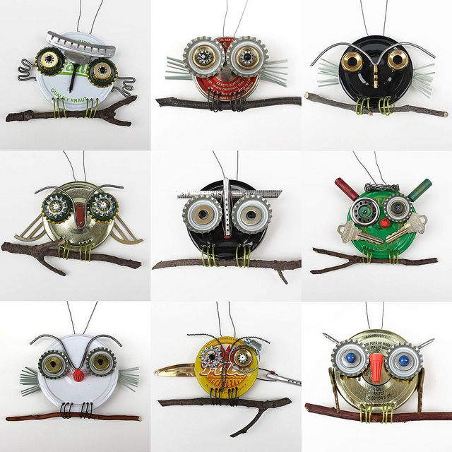 These are just too adorable and imaginative.   -----------------------------------------------  Artist: Robin Romain with Rawbone   Studio ~ upcycled owls made by kids in a class taught by Robin ~ They are SO cute!