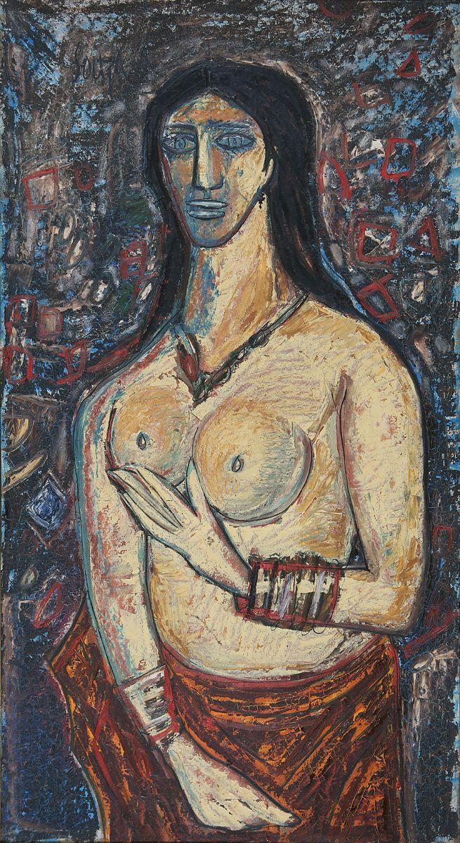 F. N. Souza Medium: Oil on canvas Year: 1962 Size: 56.5 x 31 in.