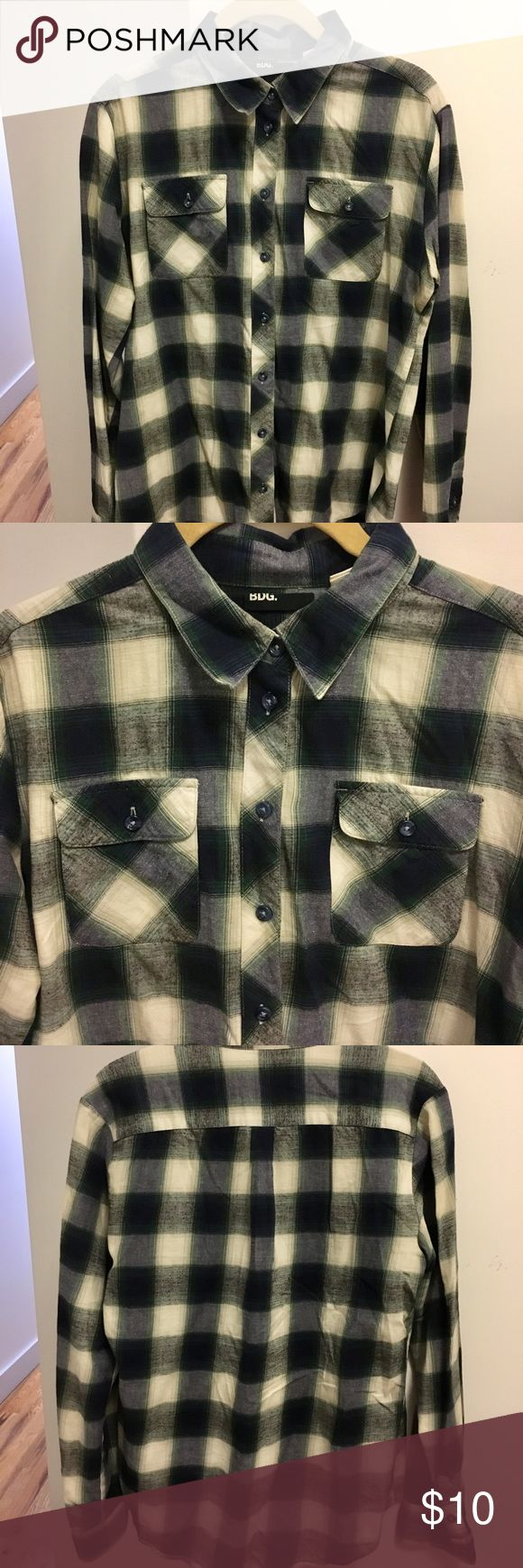 BDG long-sleeve flannel Cream, grey and dark green flannel shirt by BDG BDG Tops Button Down Shirts
