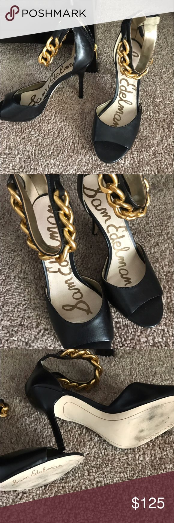 just In Sam Edelman ankle strap heels Beautiful black leather with gold chain attached & zipper backs high heels & open toe combines the comfort of a sandal with heel support like an enclosed shoe so edgy with the chain EUC no marks wore once as you can see in photos of the leather sole Sam Edelman Shoes Heels