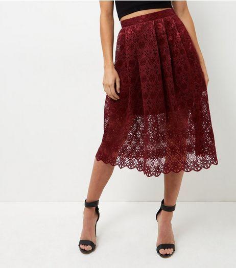 Burgundy Lace Balloon Midi Skirt  | New Look