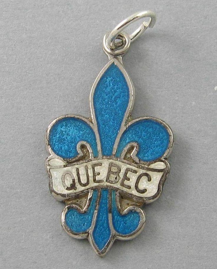 Vintage BMCo Sterling Silver Blue White Enamel Quebec FLEUR DE LIS Charm 1213R