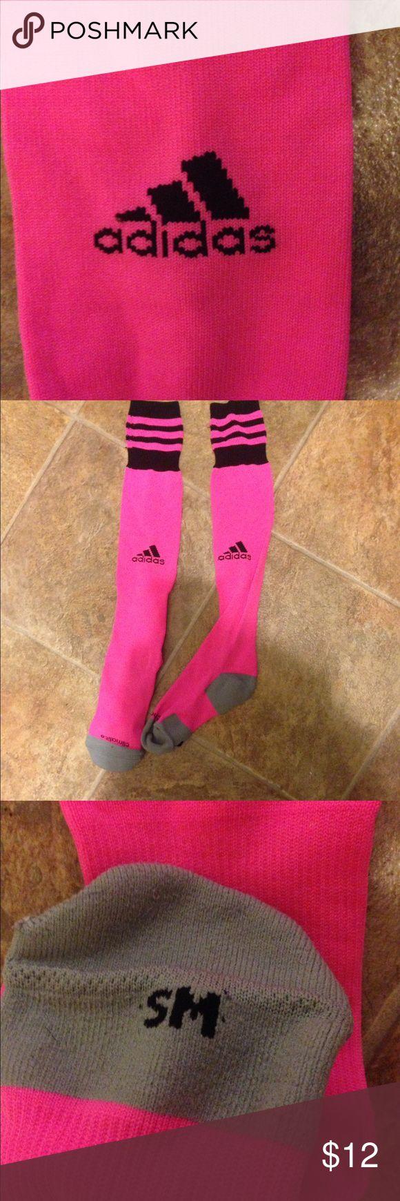 Pink adidas soccer socks NWOT- never worn pink adidas soccer socks size s/m Adidas Other