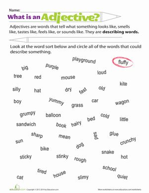 adjectives for first grade - Google Search