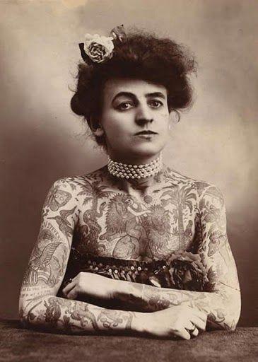 Maud Wagner in 1911, first female tattoo artist.