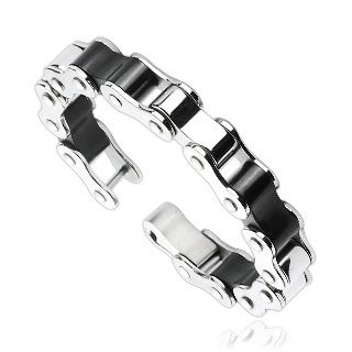 Stainless Steel Duo Tone Motorcycle Link Bracelet - 8 inches (http://store.bikerornot.com/stainless-steel-duo-tone-motorcycle-link-bracelet-8-inches/)