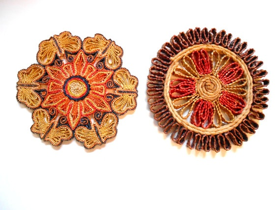 Vintage Straw Trivets Fall Colors by lizandjaybooksnmore on Etsy: Fall Color