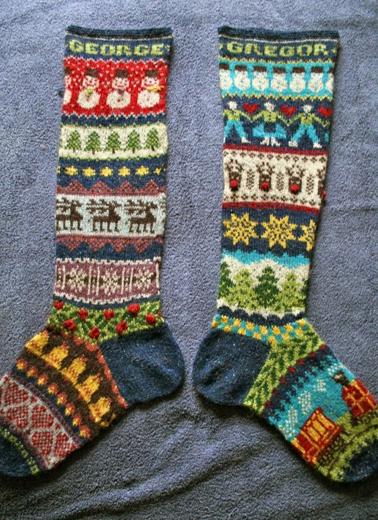 Photo of fairisle-stockings- Helen of pointy pointy sticks did these fantastic stockings that she knitted for her son and nephew this year! Helen used a mishmash of fair isle patterns to create the striking design on these stockings, including some free Ravelry patterns by Kristen Hall, General Hogbuffer.