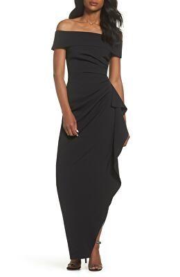 e85db1e0b54 VINCE CAMUTO Designer Off The Shoulder Crepe Gown