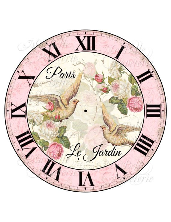 Shabby Chic Clock-DIY French Inspired Clock Face with Beautiful Roses and Doves