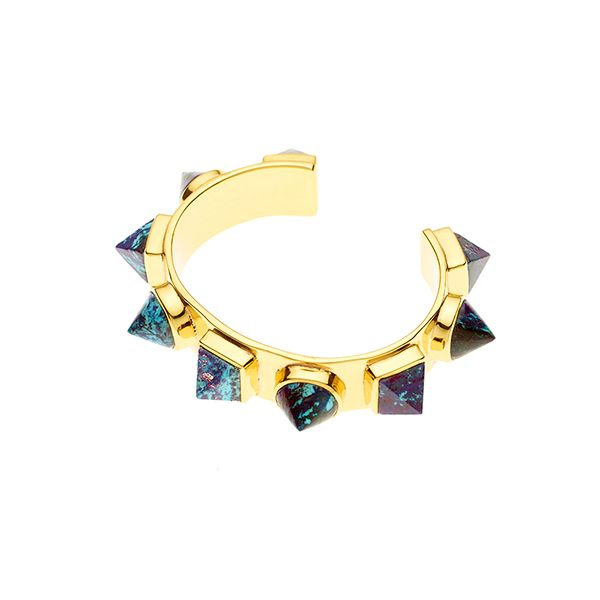 PUSHMATAAHA // Nubian Cuff / Blue Purple Turquoise with Gold Plate