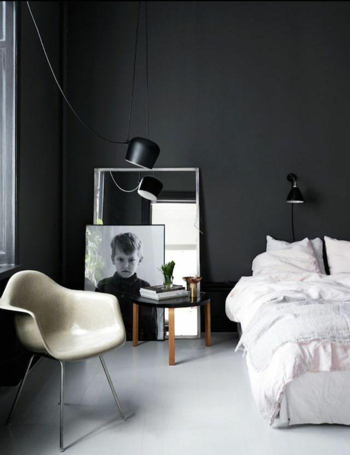 Wanfarben Ideen Schlafzimmer Schwarze Wnde Sessel