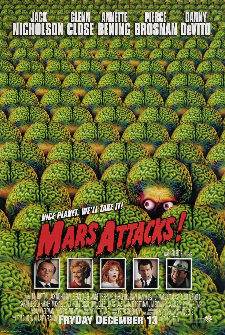 "MP1056. ""Mars Attacks!"" Movie Poster by Bernis Balkind (Tim Burton 1996) / #Movieposter"