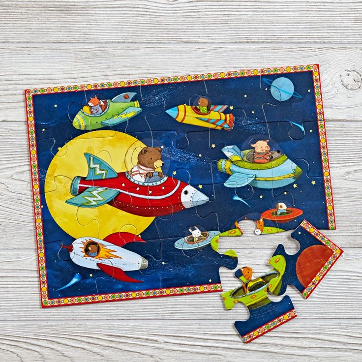 Shop Up and Away 20-Piece Puzzle.  This 20-piece space puzzle is simple, yet challenging enough for any little puzzle solver.  It features a cheerful space illustration.