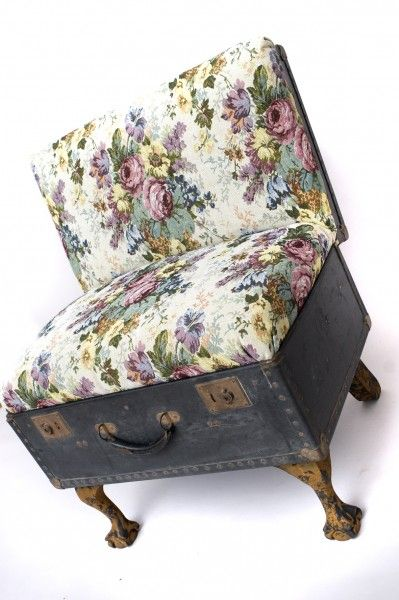 suitcase chair tapestry print 2 399x600 Suitcase chairs in furniture fabric art  with suitcase Repurposed Furniture Chair Bench