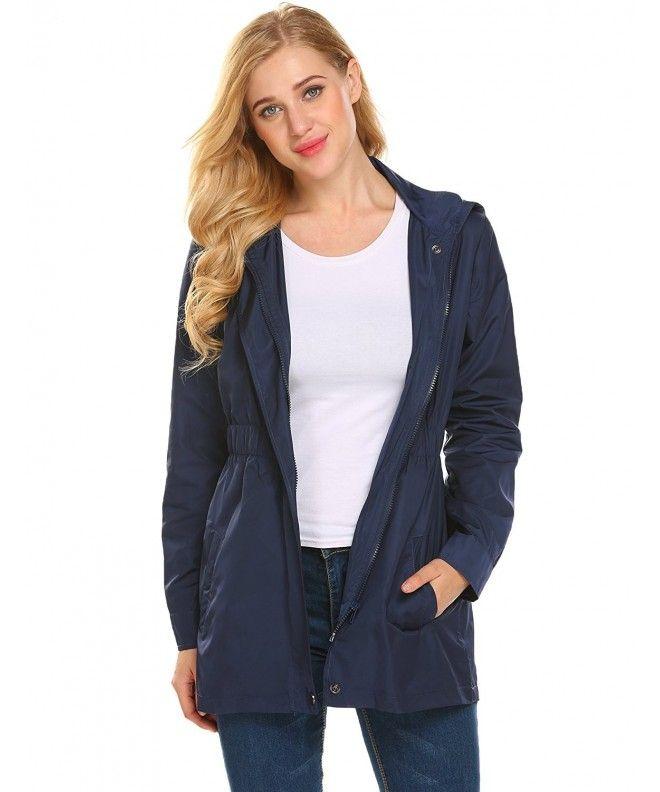 23f064e77e1 Women s Lightweight Waterproof Raincoat Hooded Rain Jacket Outdoor  Windbreaker - Navy Blue - CE188GWH3DZ