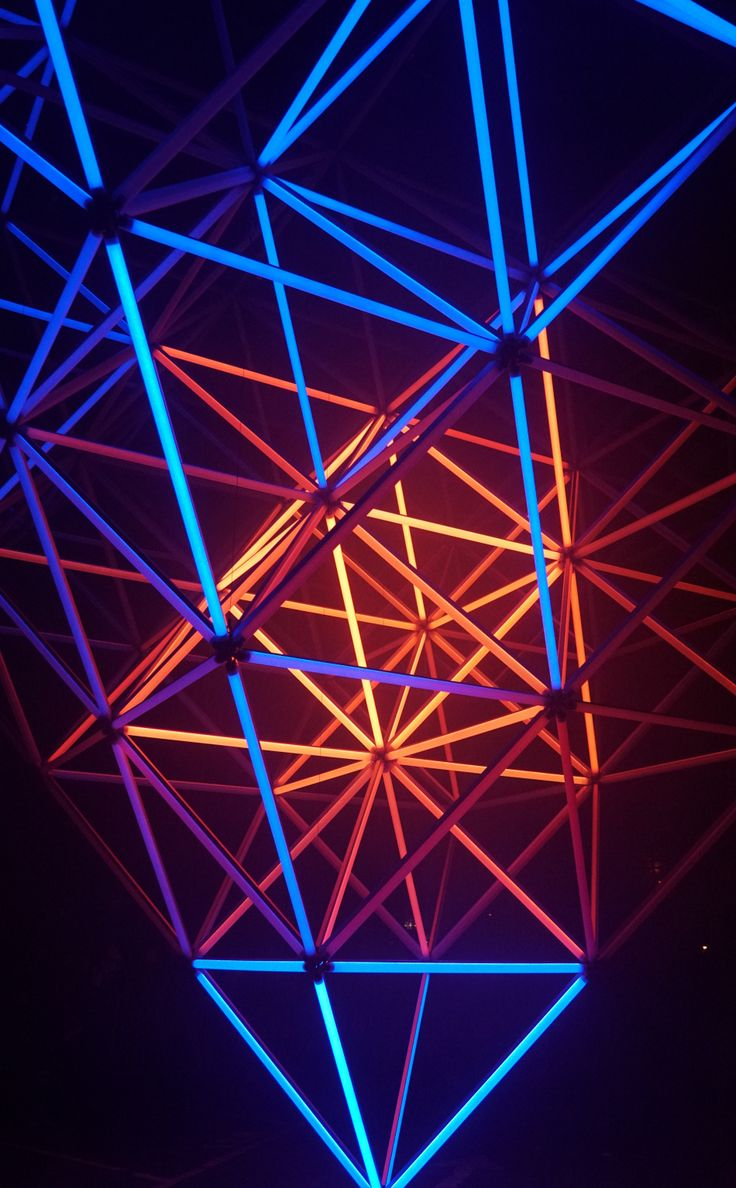 950x1534 Neon shapes, structure, glow, triangle wallpaper