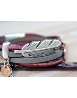 Βραχιόλι Grey Leather Feather & Boho Eye