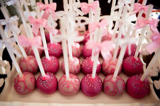 Cake pops at a Baby Girl Shower #babyshower #cakepops