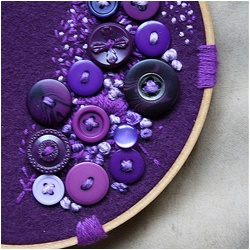 Button crafts that'll leave you tempted to clean out your button bag.: Idea, Buttons Crafts, Shades Of Purple, Color, Buttons Art, Diy Gifts, Violets, Embroidery Hoop, Dreams Cars