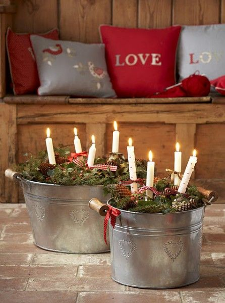 23 Creative ways of using buckets in interior and exterior décor-could use lights instead of real candles...