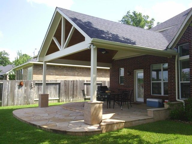 Decoration, Outdoor Ideas Awesome Half Brick White Wooden Column And Stones Flooring Picture Good Triangle Shaped Picture Good Brown Wall Designs: Make Your Outdoor More Beautiful With The Good Deck Roofing Ideas
