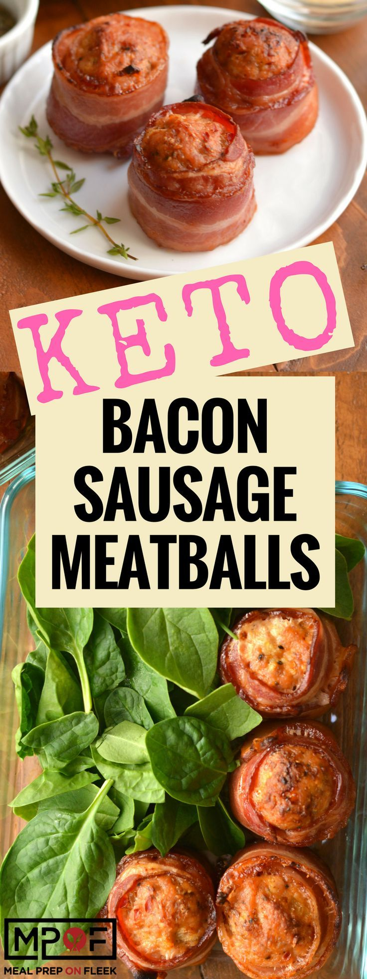 Keto Bacon Sausage Meatballs Recipe - Italian Sausage wrapped in bacon is an easy keto meal prep meal that's packed with protein and flavor. Great for the ketogenic diet as a breakfast, lunch, snack or even dinner! #ketogenic #ketogenicdiet #ketorecipes