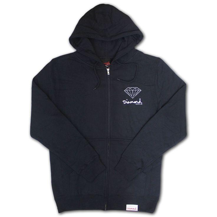 Diamond Supply Co OG Sign Zip Up Hoodie Navy