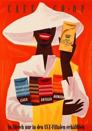Cafe Co Op 1954 Switzerland - Beautiful Vintage Poster Reproductions. This vertical Swiss culinary / food poster features a black person in ...