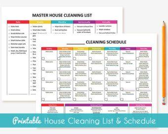 Printable Master House Cleaning List por GraceByFaith en Etsy