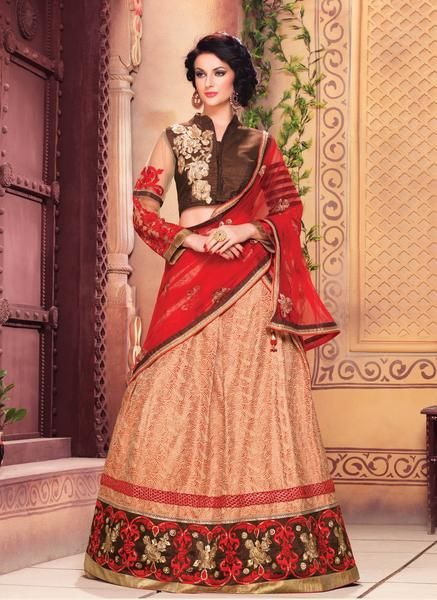 Brown & Red Art Silk Lehenga Online Shopping In India ,Indian Dresses - 1