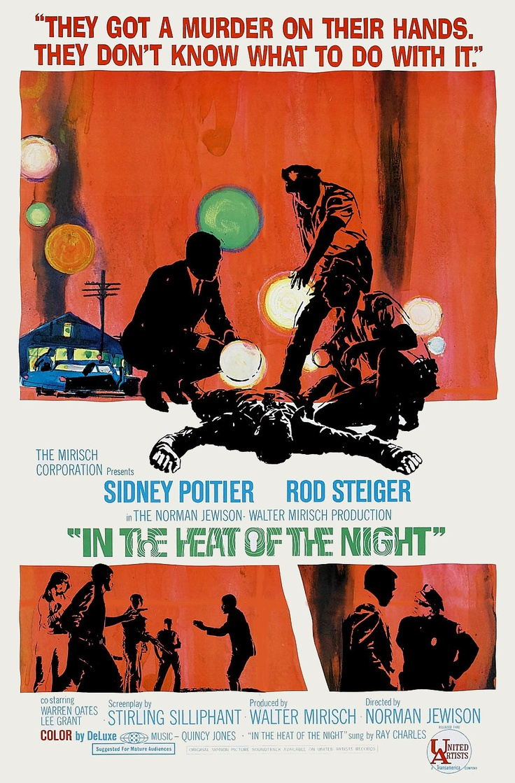 """""""In the Heat of the Night"""" in 1969 directed by Norman Jewison (Toronto 1926). Mystery film based on the John Ball novel of the same name. Tells the story of a police detective from Philadelphia who becomes involved in a murder investigation in a racist small town in Mississippi. The film won five Academy Awards, including Best Picture."""