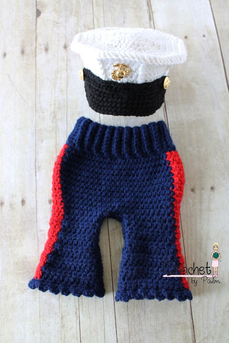 Crochet Marine Corps Blues Cover and Baby Girl Cute Patootie set, Crochet Baby Pants, Baby Hat